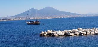 那不勒斯Vesuvio火山海湾 免版税库存照片