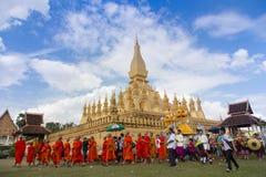 那个luang节日,万象,老挝 免版税库存照片