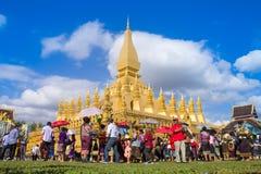 那个luang节日,万象,老挝 免版税库存图片