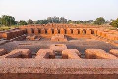 那烂陀寺大学废墟,印度 库存图片