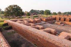 那烂陀寺大学废墟,印度 免版税图库摄影