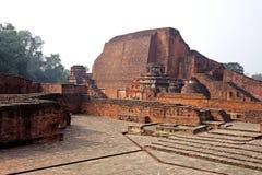 那烂陀寺Mahavihara破坏主要寺庙 库存图片