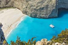 那瓦伙族人小海湾 海岛扎金索斯州 希腊爱奥尼亚海 免版税库存图片