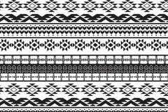 那瓦伙族人葡萄酒部族无缝的样式,手拉 免版税库存照片