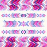 那瓦伙族人阿兹台克纺织品启发水彩样式 当地阿梅尔 图库摄影