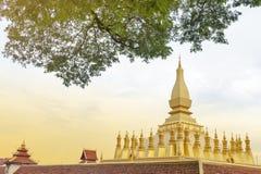 那Luang Stupa,万象,老挝人PDR地标  库存图片
