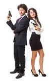 邪恶的商人和女实业家 免版税图库摄影