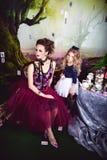 邪恶的女王/王后和阿丽斯在妙境 免版税图库摄影