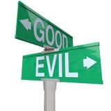 邪恶的好符号街道二与方式 库存图片