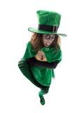 邪恶的妖精女孩,隔绝在白色、概念爱尔兰和fai 免版税库存照片