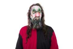 邪恶的小丑服装,隔绝在白色、概念万圣夜和汽车 免版税库存照片