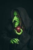 邪恶的巫婆用一个腐烂的苹果和在她的手上的一只蜘蛛 库存照片