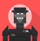 黑邪恶的机器人字符 免版税库存照片