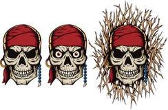 邪恶的海盗头骨 免版税库存图片