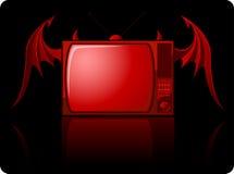 邪恶的红色减速火箭的电视 库存照片