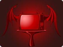 邪恶的红色减速火箭的电视 库存图片
