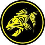 邪恶的鱼的骨骼与牙的导航例证 免版税库存图片