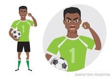 邪恶的黑人非裔美国人的足球运动员威胁与他的手 恼怒的足球运动员 负的情感 被证章的 库存例证