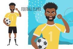 邪恶的黑人非裔美国人的足球运动员威胁与他的手 恼怒的足球运动员 负的情感 被证章的 向量例证