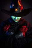 邪恶的绿色巫婆在万圣夜 库存图片