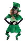 邪恶的绿色恶鬼女孩,白色的,概念爱尔兰人traditi 库存图片