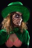 邪恶的绿色恶鬼女孩,黑背景 免版税库存照片