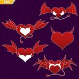 邪魔` s心脏的象 亲爱的恶魔 心脏的象与翼的 飞过的重点 恶魔的尾巴 与尾巴的心脏 向量例证
