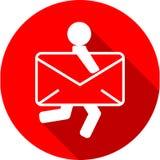 邮件交付象 信封和人 免版税库存图片