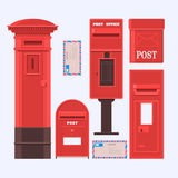 邮件箱子的传染媒介例证被设置的 葡萄酒英国岗位箱子 向量例证