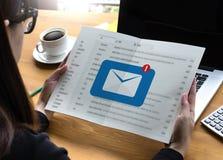 邮件通信对邮寄的连接消息与电话联系 图库摄影