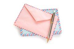 邮寄与许多信包的概念 免版税库存图片