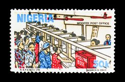 邮局、文化、自然和经济serie,大约1986年 免版税库存照片