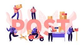 邮局概念的人们,邮差提供邮件包裹到顾客 邮件送货服务,邮费运输 库存例证