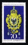 邮局盾,普法尔茨巴伐利亚,邮票陈列伊卜拉慕尼黑serie,大约1973年 图库摄影
