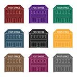 邮局 在黑样式的邮件和邮差唯一象导航标志储蓄例证网 库存图片