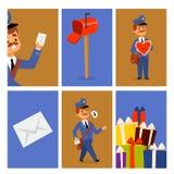 邮差送货人字符传染媒介卡片传讯者职业载体包裹邮件运输搭载专业人民 向量例证