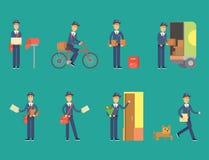 邮差送货人字符传染媒介传讯者职业载体逗人喜爱的男性包裹运输 向量例证