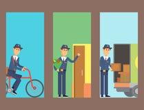邮差送货人拟订字符传染媒介传讯者职业载体逗人喜爱的男性包裹运输 皇族释放例证