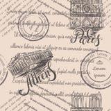 邮票、巴黎圣母院和上城有在的巴黎和雅典,无缝的样式上写字在米黄背景 免版税库存图片