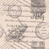 邮票、巴黎圣母院和扎耶德Mosque回教族长有在的巴黎和阿布扎比,在米黄背景的无缝的样式上写字 免版税库存图片
