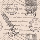 邮票、巴黎圣母院和斜塔与在巴黎和比萨,无缝的样式上写字在米黄背景 库存照片