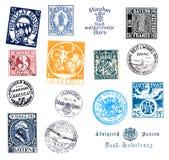 邮票和标签从巴伐利亚,德国 免版税库存图片
