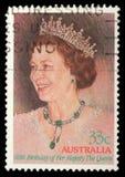 邮票在显示女王Elisabeth II的澳大利亚打印了 免版税图库摄影
