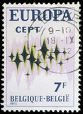 邮票在显示闪耀的星的比利时打印了在白色背景 免版税库存图片