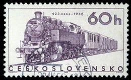 邮票在显示` 423的捷克斯洛伐克打印了 0206 `机车 库存图片