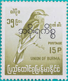 邮票在缅甸联邦打印了 库存照片