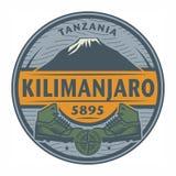 邮票或象征与文本乞力马扎罗,坦桑尼亚 库存例证