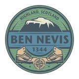 邮票或象征与文本本尼维斯山,苏格兰 皇族释放例证