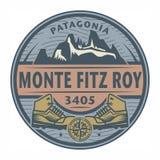 邮票或象征与文本Monte菲茨罗伊峰,巴塔哥尼亚 向量例证