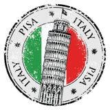 邮票比萨塔在意大利,传染媒介 免版税库存图片